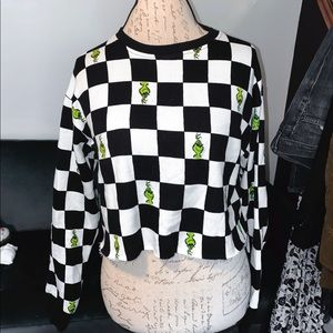 Grinch checkered sweatshirt